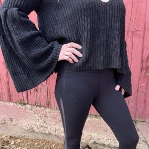 Free people black bell sleeved tight knit sweater
